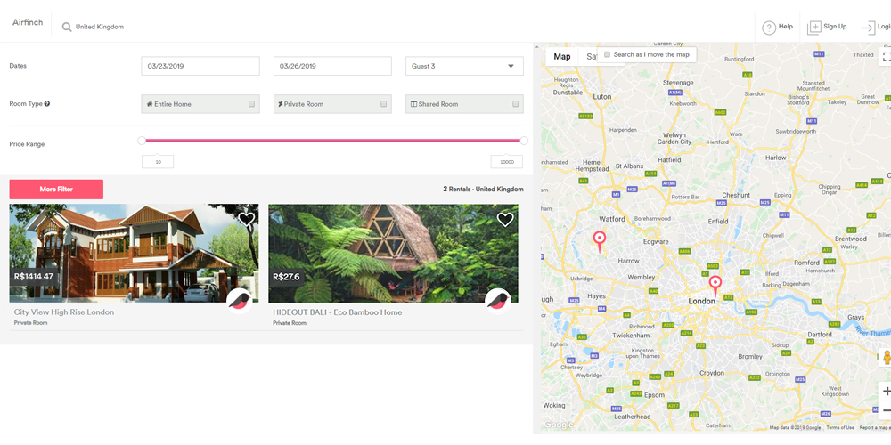 Airbnb clone search feature
