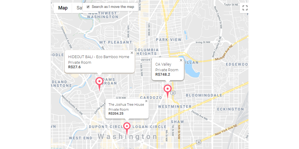 Airbnb map search
