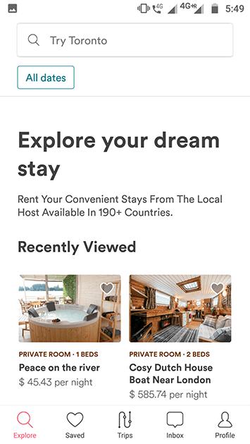 airbnb clone app explore