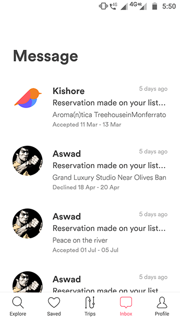 airbnb clone - app message
