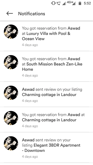 airbnb clone app notifications