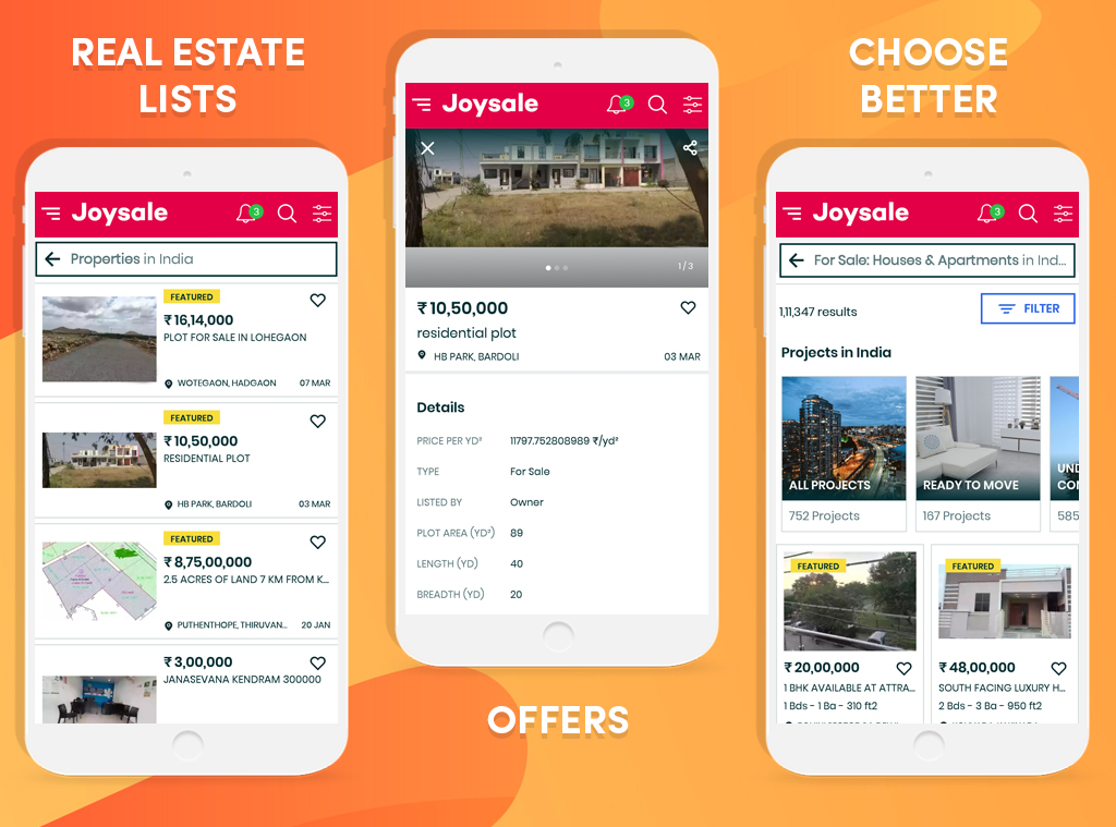 Screenshot of Mobile Apps Using Real Estate Classifieds Script