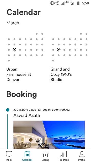 airbnb clone app calendar