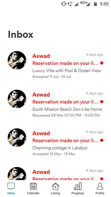 airbnb clone app inbox