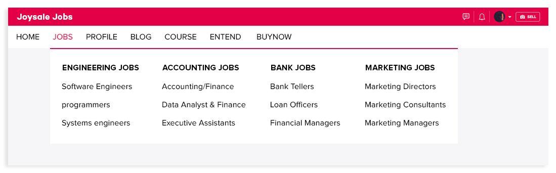 career portal clone categories