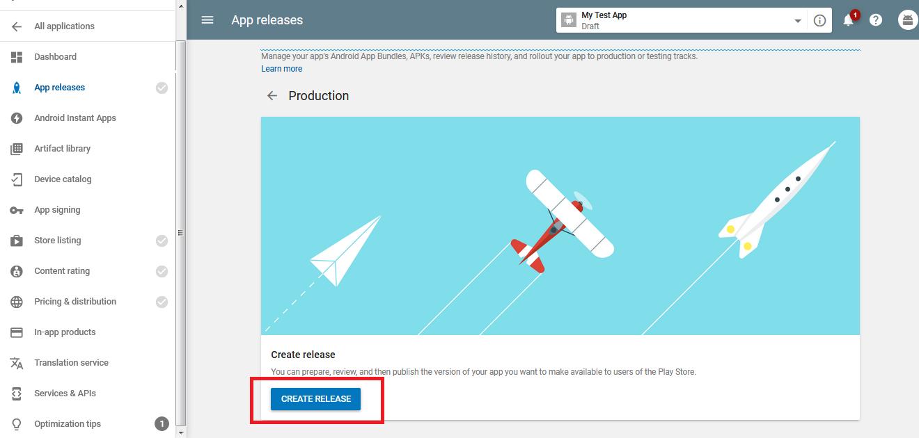 create release in app store