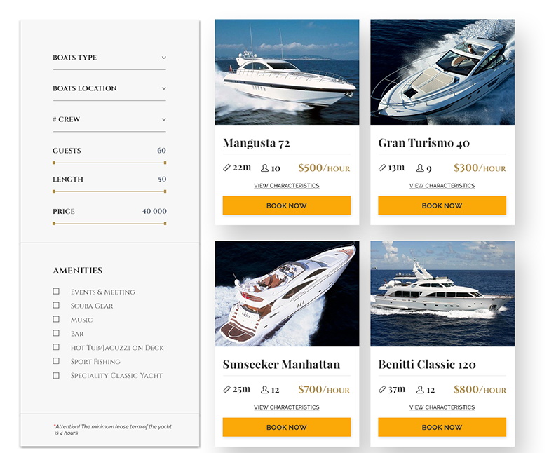boat rental script features