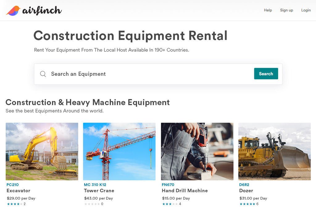 construction and heavy machine equipment rental script