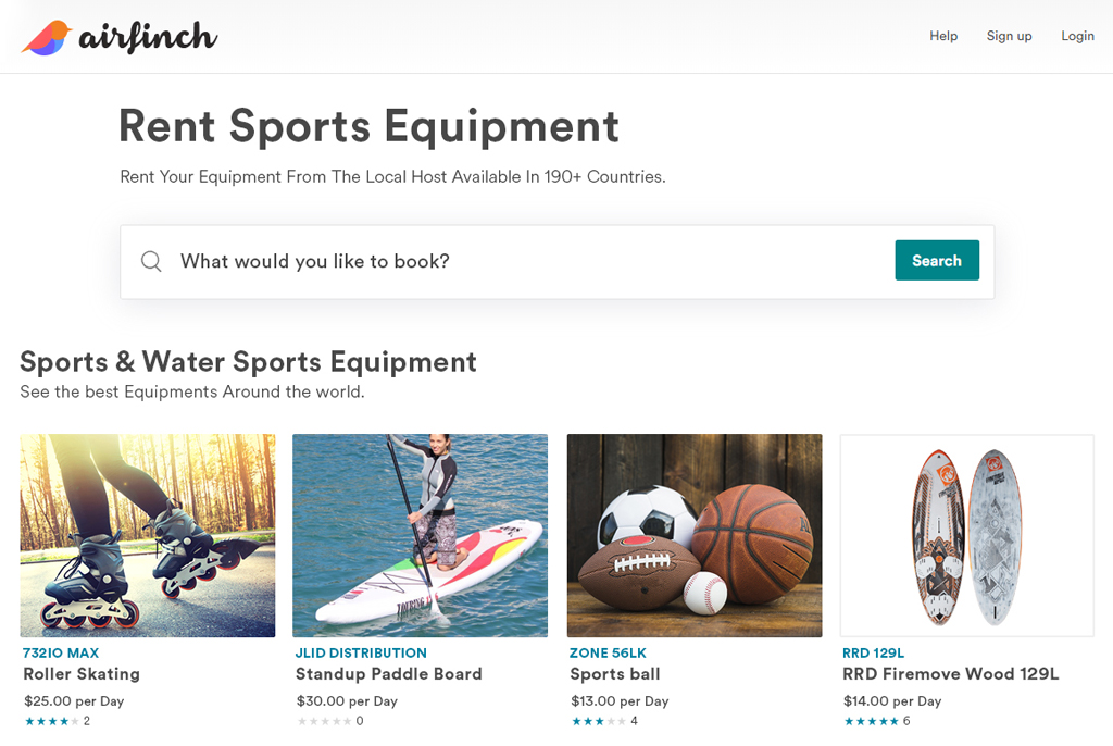 sports and water sports equipment rental script