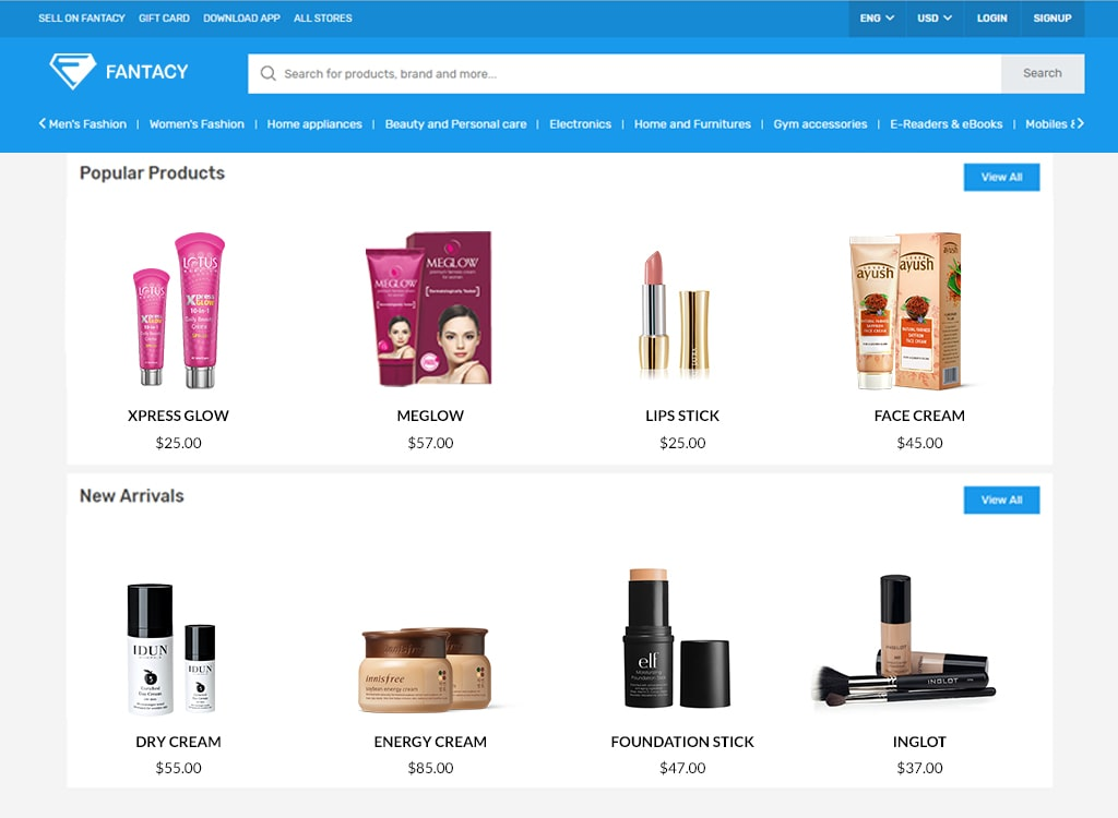 An online cosmetics platform built with Fantacy