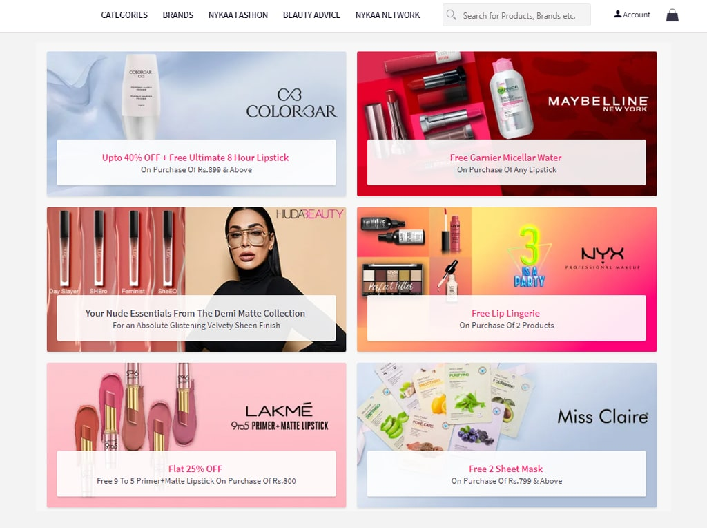 Cosmetics e-commerce platform with a broad range of brands and products