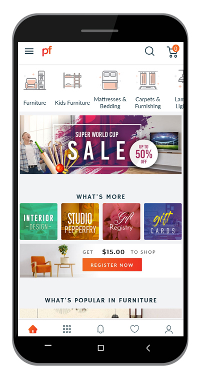 Mobile app of an online furniture shop