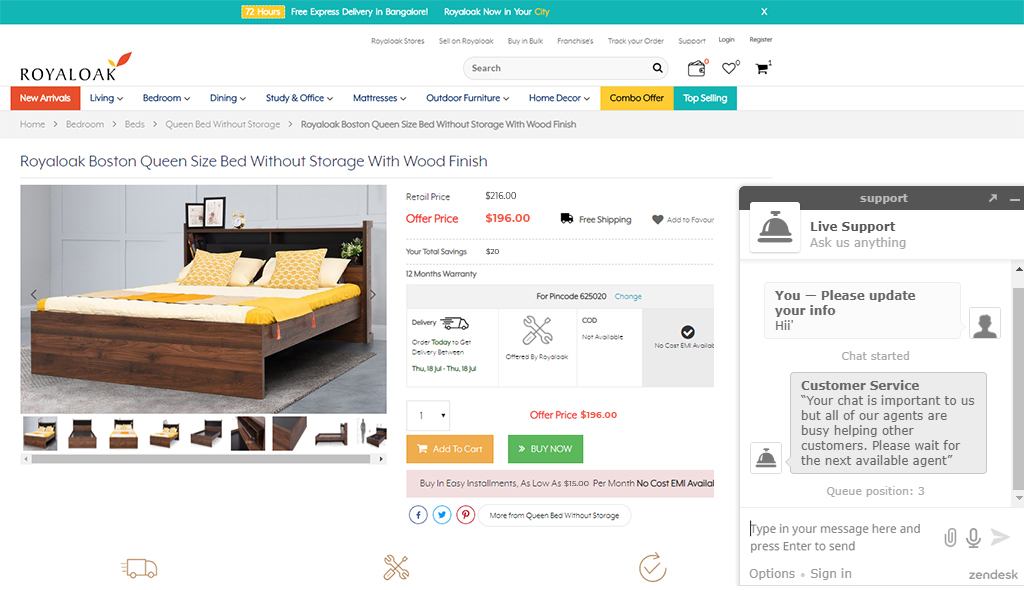 Online furniture store with chatbots