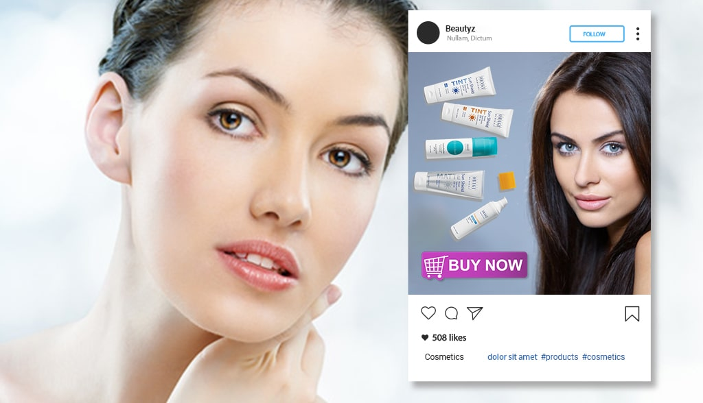 Shoppable Instagram posts for a cosmetics e-commerce site