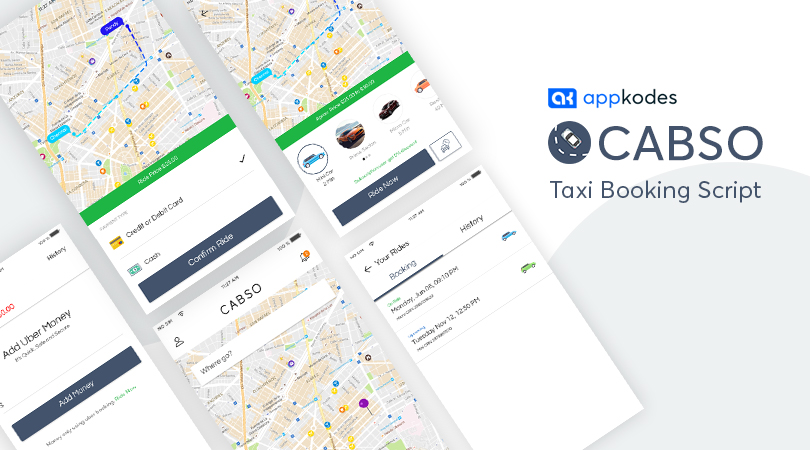 A taxi booking app built with Appkodes Cabso