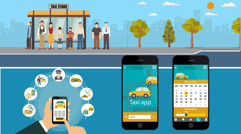 Image showing the traditional way of taxi booking and online taxi booking process