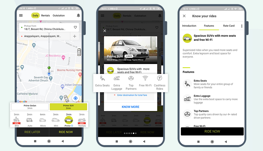 taxi app with personalized trip option